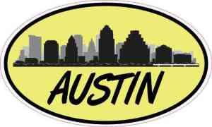 Yellow Oval Austin Skyline Sticker