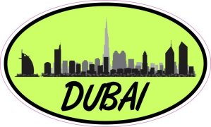 Green Oval Dubai Skyline Sticker