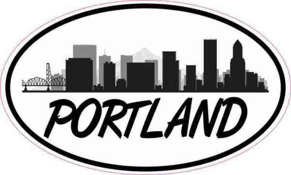 Large Letters Oval Portland Skyline Sticker