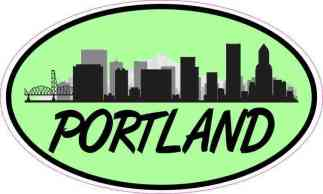 Green Oval Portland Skyline Sticker