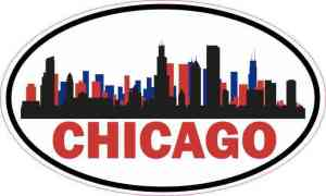 Patriotic Oval Chicago Skyline Sticker