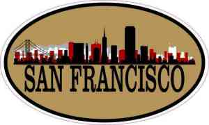 Gold Oval San Francisco Skyline Sticker