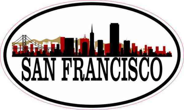 Red and Gold Oval San Francisco Skyline Sticker