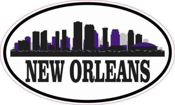 Purple Oval New Orleans Skyline Sticker