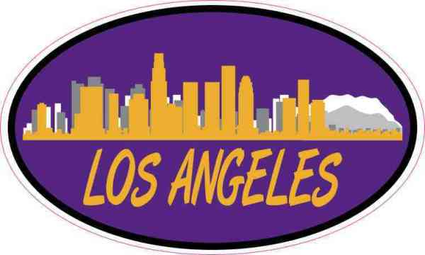 Purple and Gold Oval Los Angeles Skyline Sticker