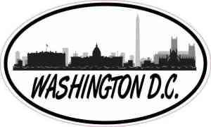 Oval Washington D.C. Skyline Sticker