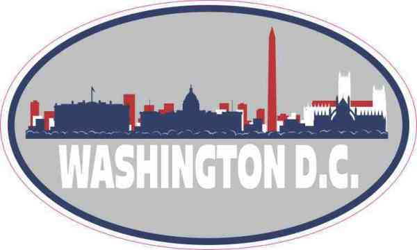 Patriotic Oval Washington D.C. Skyline Sticker