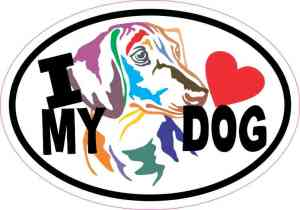 Colorful Dachshund Oval I Love My Dog Sticker