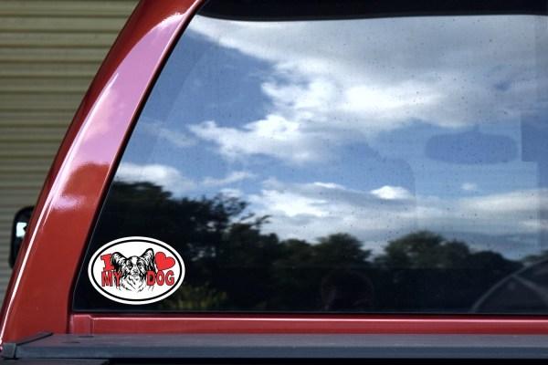 Papillon Oval I Love My Dog Sticker