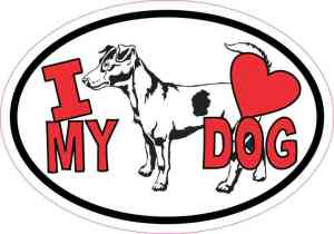 Jack Russell Oval I Love My Dog Sticker
