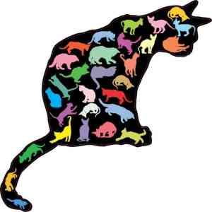 Colorful Cat Silhouette Sticker