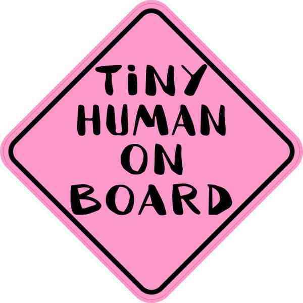Pink Tiny Human on Board Magnet