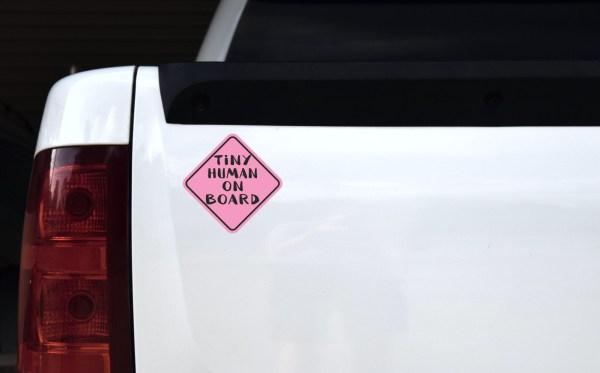 Pink Tiny Human on Board Sticker