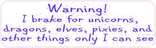 Purple Letters I Brake for Unicorns Magnet