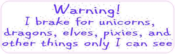 Purple Letters I Brake for Unicorns Bumper Sticker