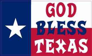 Red White and Blue Flag God Bless Texas Sticker