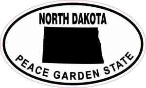 Oval North Dakota Peace Garden State Sticker