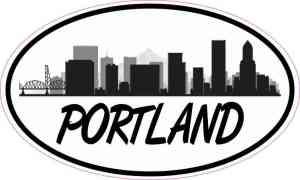 Oval Portland Skyline Sticker