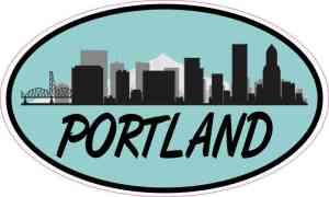 Teal Oval Portland Skyline Sticker