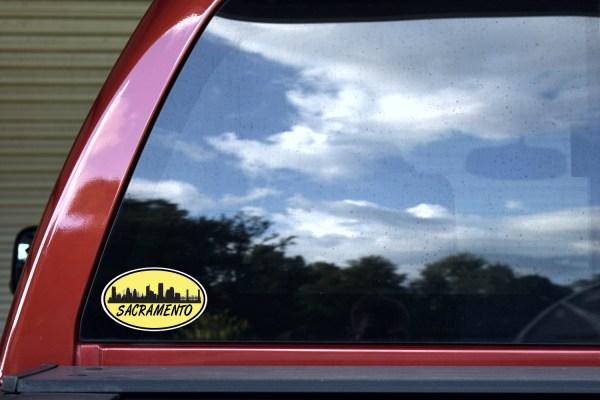 Yellow Oval Sacramento Skyline Sticker