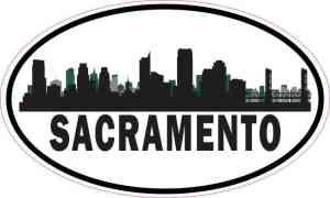 Green Oval Sacramento Skyline Sticker