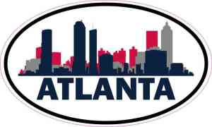 Patriotic Oval Atlanta Skyline Sticker