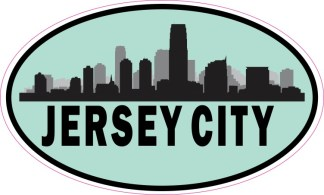 Blue Oval Jersey City Skyline Sticker