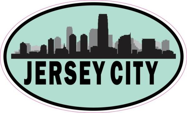 Blue Oval Jersey City Skyline Sticker
