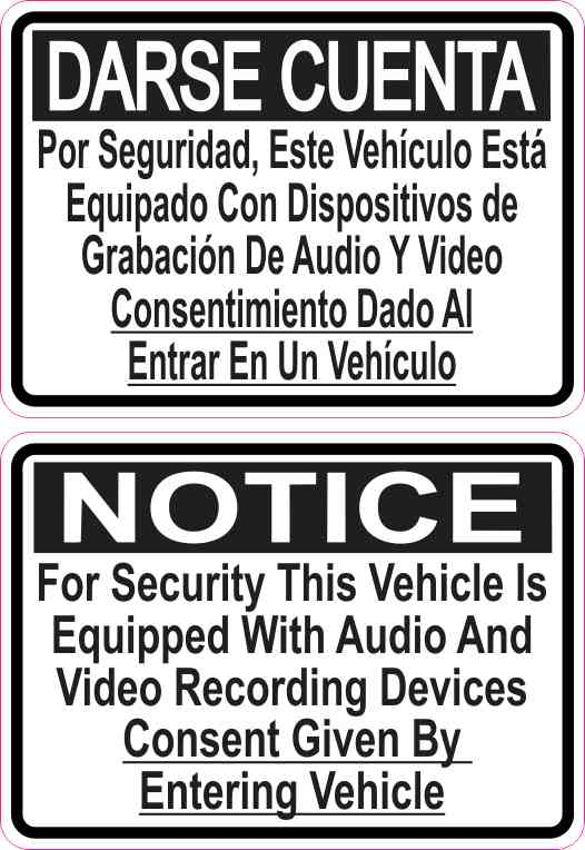 Spanish English Audio and Video Recording Consent Stickers