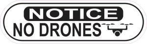 Oblong Symbol Notice No Drones Sticker