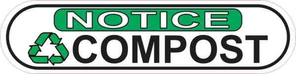 Oblong Notice Recycling Compost Sticker
