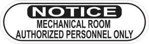 Oblong Notice Mechanical Room Sticker