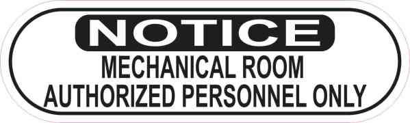 Oblong Notice Mechanical Room Sticker