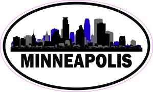 Purple Oval Minneapolis Skyline Sticker