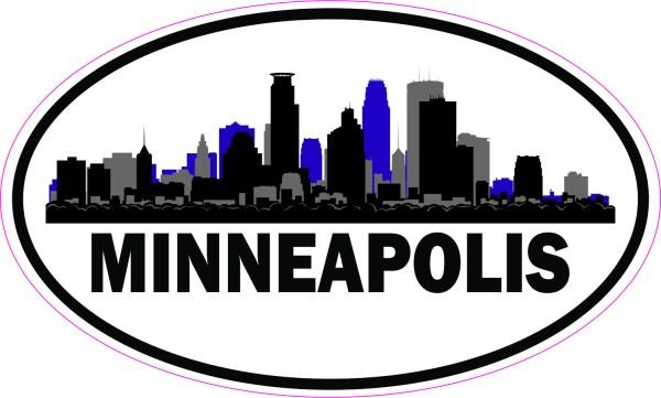 Purple Oval Minneapolis Skyline Sticker