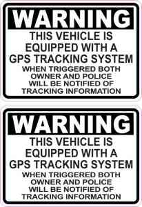 Vehicle Equipped with GPS Tracking Stickers