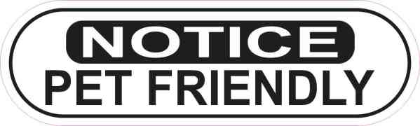 Oblong Notice Pet Friendly Sticker