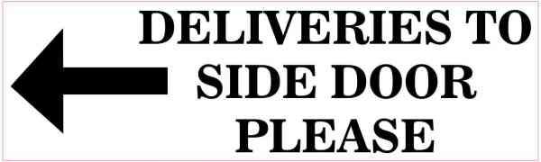 Left Arrow Deliveries to Side Door Sticker