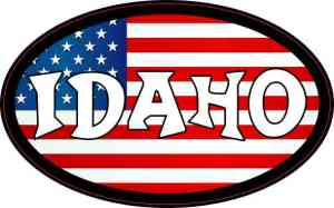 Oval American Flag Idaho Sticker