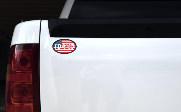 Oval American Flag Idaho Sticker