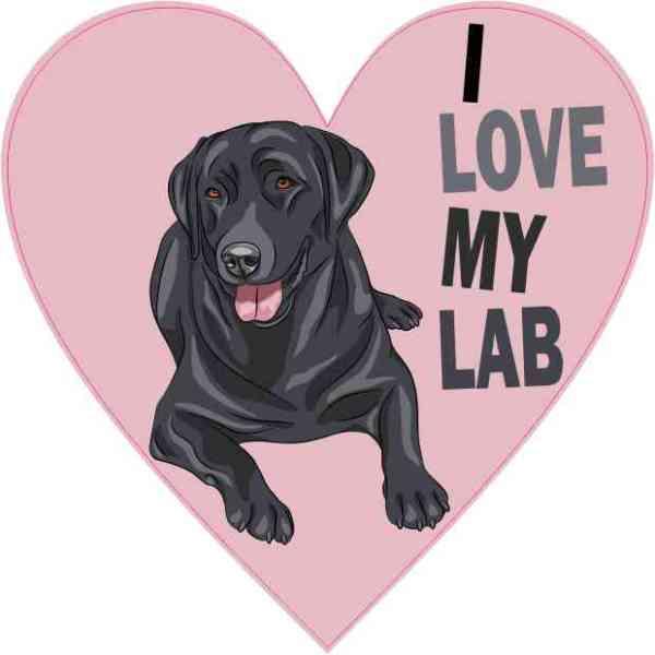 Pink Heart I Love My Lab Sticker