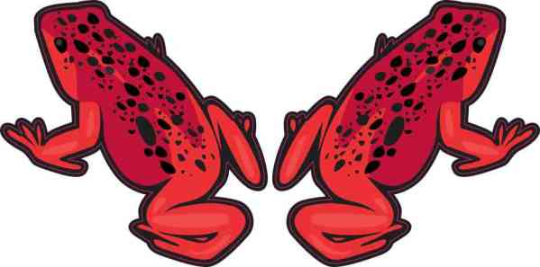 Red with Black Spots Frog Stickers