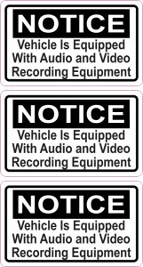 Notice Audio and Video Recording Permanent Vinyl Stickers