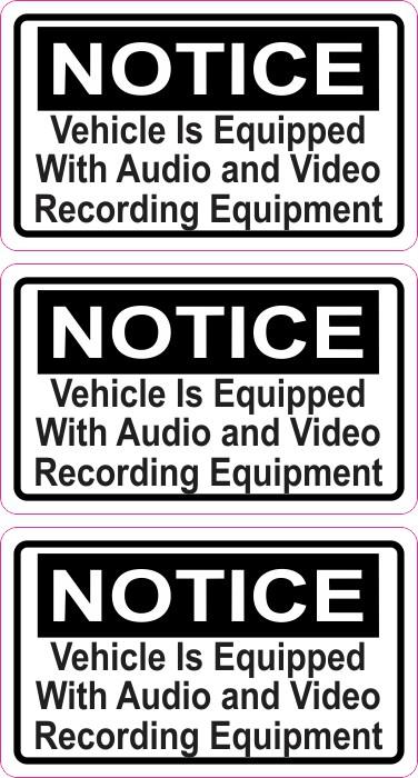 Notice Audio and Video Recording Permanent Vinyl Stickers