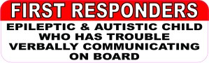 Epileptic and Autistic Child on Board Sticker