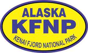Yellow Oval Kenai Fjords National Park Sticker