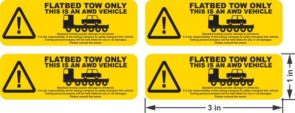 Flatbed Tow Warning Stickers