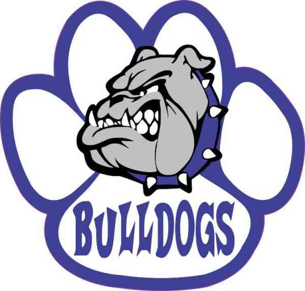 Blue and White Bulldog Paw Sticker