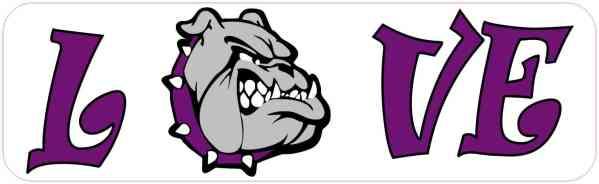 Love Purple Bulldog Bumper Sticker