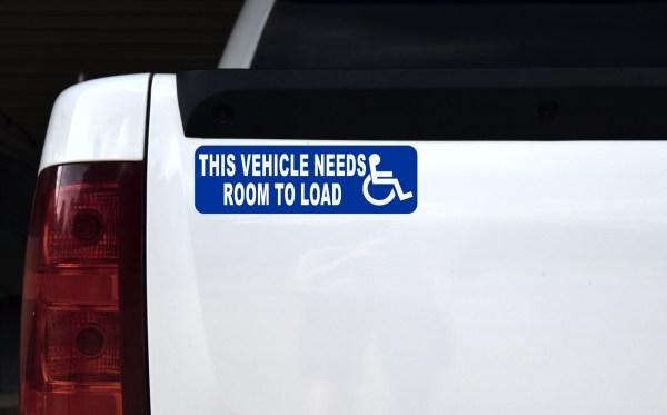 Vehicle Needs Room to Load Sticker